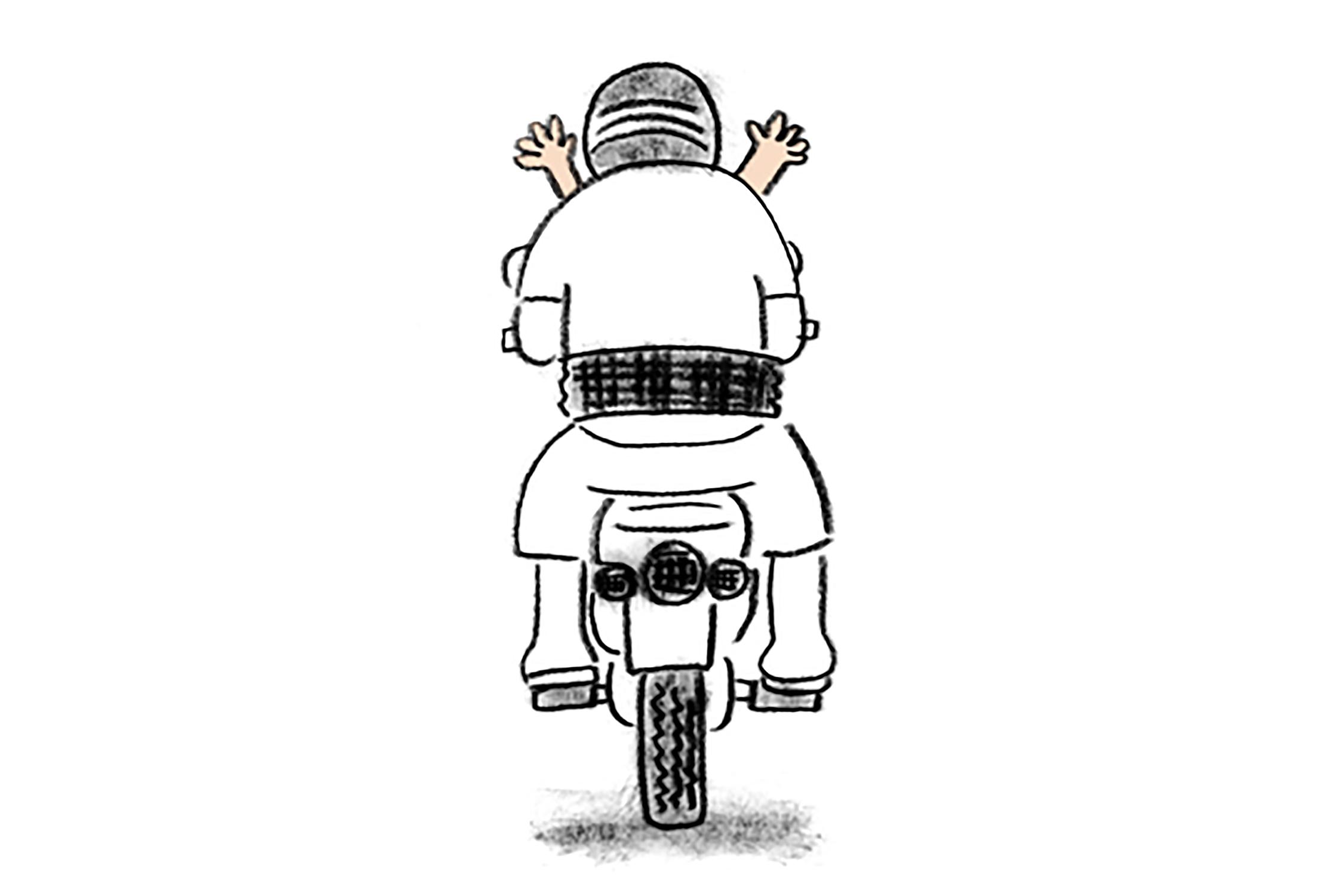 A Man with Pa Khoa Ma on the Motorcycle by Tunyaporn Hongtong